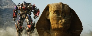 Optimus Prime takes a brief respite from a battle to pose for a tourist shot besides The Sphinx in Egypt.  This is probably the least ridiculous thing you'll see in this film.