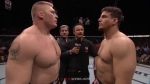 Lesnar vs. Mir. Regardless of the outcome, Brock Lesnar will still have a comically small head.